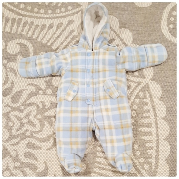 a70c3c47e Baby Boy Fleece Hooded Footed Pram Suit